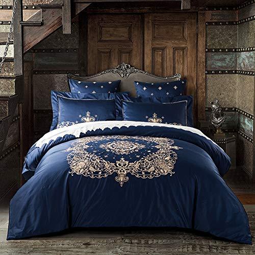 RHXX Suite Bettbezug 4 Stück 60S Langstapel-Baumwollsatin Weben Prozess Bestickte Tröster Abdeckung Reißverschluss Bettwäsche Set,6Pcs200*230cm -