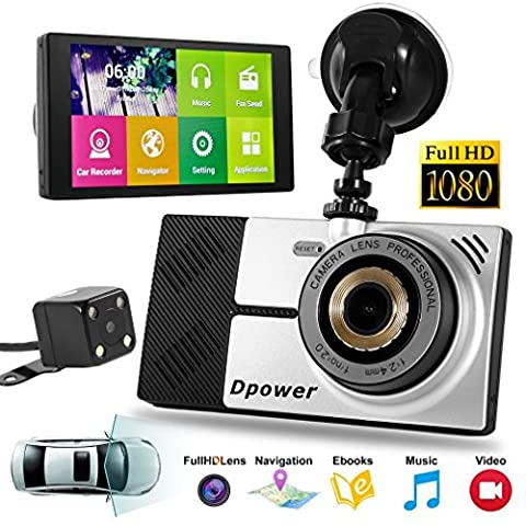 Dash Camera, LESHP HD 1080P Car DVR Driving Dashboard Camera Quad Core 5'' Recorder Camcorder for Vehicles Front and Rear Views with GPS 1080P DVR +Wifi +Backup Camera