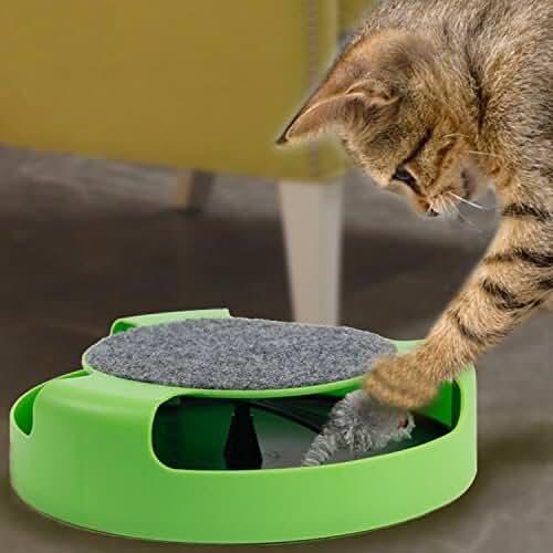 regalos kawaii gato Yosoo Catch el ratón movimiento Cat Toy, Scratch Pad con rotación Toy Mouse, Pet Cat atrapar el ratón, movimiento de juguete de felpa, gato movimiento giratorio Chase Juguete