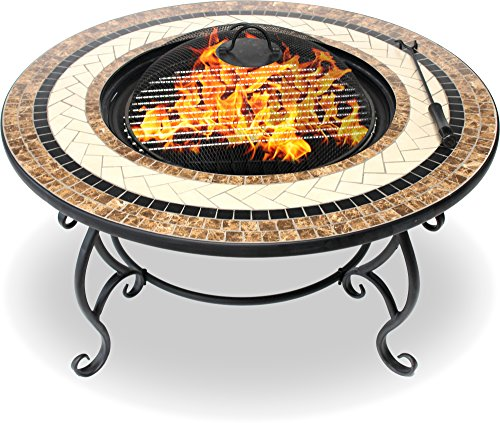 Centurion Supports TOPANGA High-End Luxurious Multi-Functional Garden & Patio Heater Fire Pit Brazier / Coffee Table / Barbecue and Ice Bucket with Ceramic Tiles