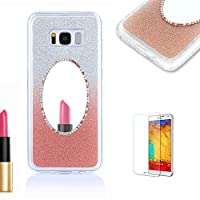 For Samsung Galaxy S5 Case [with Free Screen Protector},Funyye Soft Silicone Gel TPU Ultra Thin Slim Glitter Rose Gold Gradual Color Changing Mirror Protective Rubber Bumper Case Cover Shell for Samsung Galaxy S5