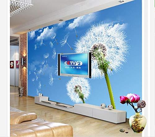 LHDLily Wand Stricker Löwenzahn Blauer Himmel Wohnzimmer Schlafzimmer TV Sofa Hintergrund Wand Landschaft Der 3D Tapete Wandbild 400Cmx300Cm|(157Inx118In)