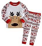 Kinder Jungen Mädchen Bekleidung Langarm zweiteilige Schlafanzüge Schlafanzug Pyjama Cartoon Weihnachten Bekleidung Set 110