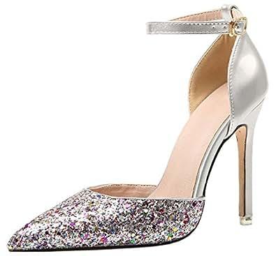 BIGTREE Hochzeit High Heels von Damen D'Orsay Kleid Pumps Glänzend Pailletten Knöchelriemen Spitze Zehen Pumps Silber 40 EU aLwfB