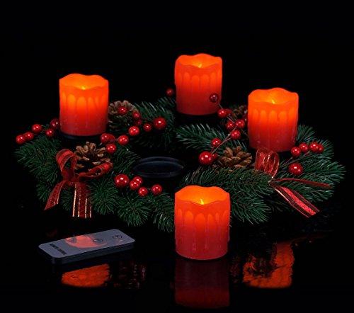 Kranz Tannenzapfen-kerze (Adventskranz mit 4 LED Kerzen und Fernbedienung - roter Weihnachtskranz mit Echtwachskerzen)