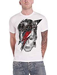 David Bowie T Shirt Halftone Flash Face Official Mens Distressed White