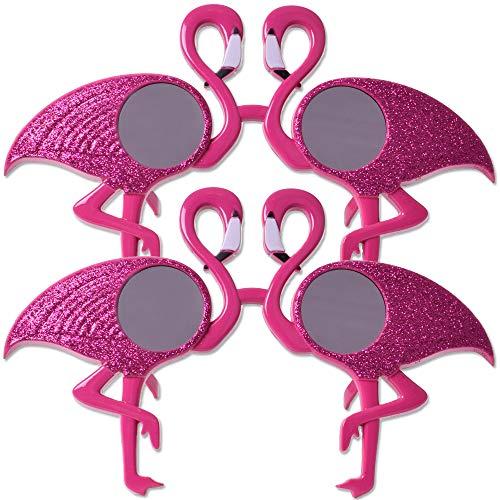 TE-Trend 2 Stück Flamingo Maske Brille Sonnenbrille Glitter Kostüm Partybrille Spaßbrille Verkleidung Karneval UV400 rosa