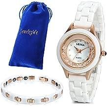JewelryWe Juego de Reloj con Pulsera, Moda 2016 Reloj Cuarzo con Pulsera Blanca de Cerámica, Encanto Regalo para Chica Dulce, Reloj Oro Rosa Blanco