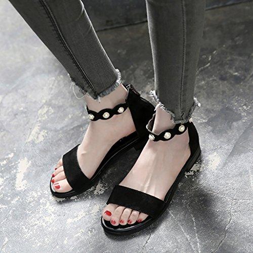 Sandales d'été Chaussures en cuir à chaussures romaines Noir