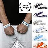 Aura Design Armband für Damen & Herren | Armbänder Sportarmband | Silikonarmband | Fitness Armband | 4 Armbänder (Hellblau & Weiß)