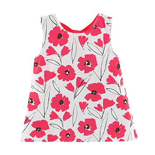 Mitlfuny Maedchen Audrey 1950er Vintage Hepburn Kleid Prinzessin Ballett Tutu Rock Party,Kleinkind-Baby-ärmellose Blumen-Blumendruck-Bogen-Kleid-Kleidung -