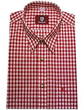 Orbis 0071 Trachtenhemd rot weiß kariert bequemer Schnitt M bis 4XL