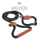 Michur Sherpa Hundeleine Black Stone Führleine Rund Gewebt aus Nylon Tau mit Robustem Leder verstärkt, in Verschieden Größen und Farben erhältlich.