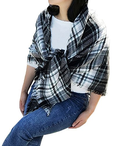 Frauen Plaid Schals Gitter Quaste Wrap übergroßen Check Schal Tartan Cashmere Schal Winter Decken (Tartan Cashmere)