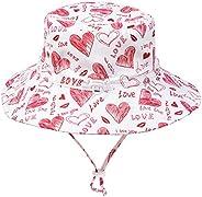 Happy Cherry Niños Unisex Sombrero de Sol Ajustable Gorro de Pescador Plegable Anti UV Sombrero de Playa Dibuj