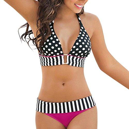 Donne sexy bikini set,swimsuit push-up reggiseno imbottito spiaggia halter costumi da bagno costume,yumm donne costume piscina sportivi bikini donna beachwear due pezzi-festa della mamma (l)