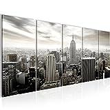 Bilder New York City Wandbild 200 x 80 cm Vlies - Leinwand Bild XXL Format Wandbilder Wohnzimmer Wohnung Deko Kunstdrucke Weiß 5 Teilig -100% MADE IN GERMANY - Fertig zum Aufhängen 603455c