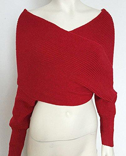 Donna Maglioni Crochet Manicotto Maglione Donne Maglia Lunga Morbido Inverno Scialle Albicocca S/M Rosso