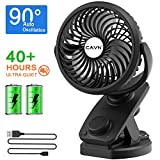 CAVN USB Desk Fan, Mini Portable Clip Fan with Rechargeable Battery (Max 40 Hours), 4 Speeds, 360° Rotation, Auto Oscillating Quiet Fan Personal Fan for Baby Stroller Home Office Travel Camping Car