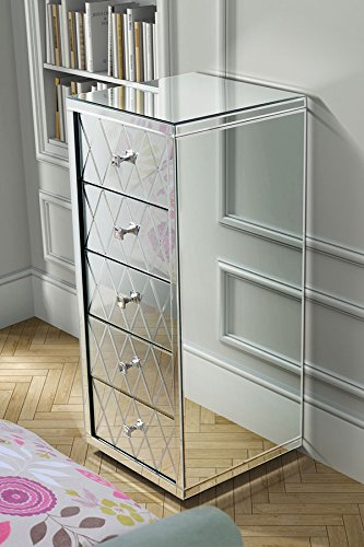 MY-Furniture-Comoda-alta-de-espejo-con-5-cajones-y-zocalo-Gama-KNIGHTSBRIDGE
