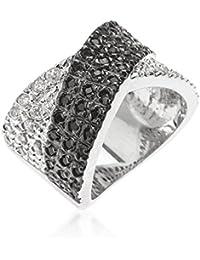 Eleganter Ring mit schwarzen und klaren Zirkonia Diamanten, 14 Karat Weißgold Vermeil