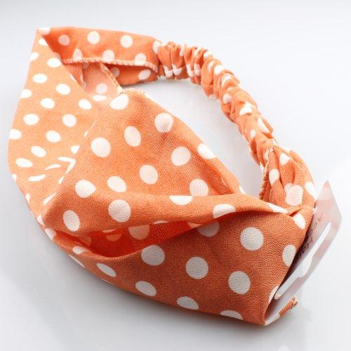 dwrap Head Wrap Head Band Hippy Animal Multi Crinkle Stretch Elasticated Boho[Orange Polka] by Generic (Orange Stretch Wrap)