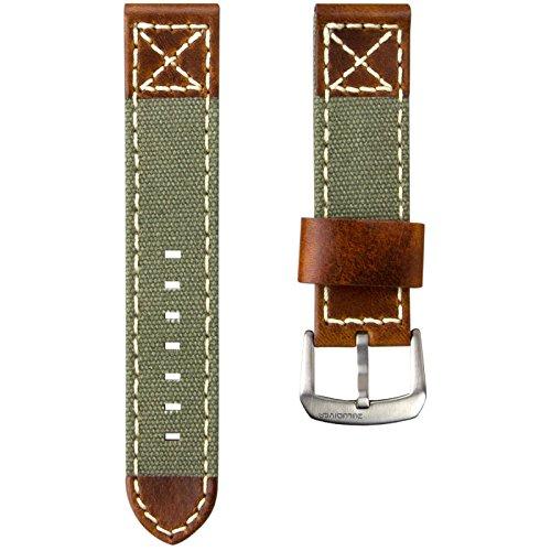 ZULUDIVER® Kanevas & Italienisches Leder Uhrenarmband, Militär Grün & Vintage Braun 22mm