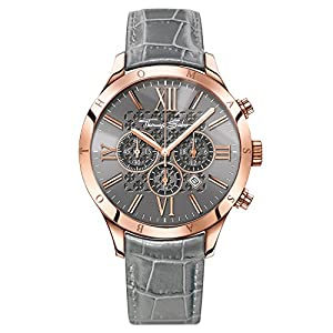 "THOMAS SABO Men Men's Watch Rebel Urban Men's Watch""Rebel Urban"" Stainless Steel; Leather Grey Alligator-Print Leather Strap WA0227-274-210"