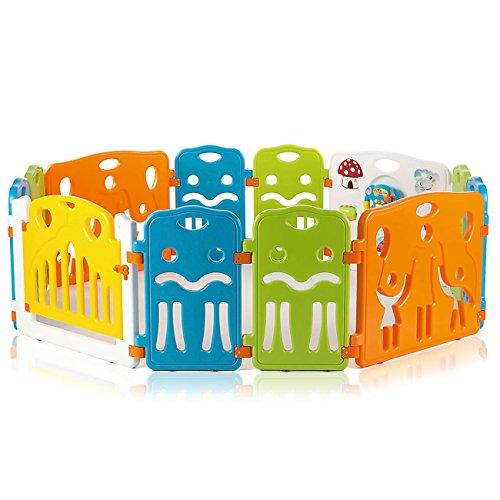Baby Vivo Laufgitter Laufstall Baby Absperrgitter Krabbelgitter Schutzgitter für Kinder aus Kunststoff mit Tür und Spielzeug - COLORS XL erweiterbar - Modell 2018 - 5