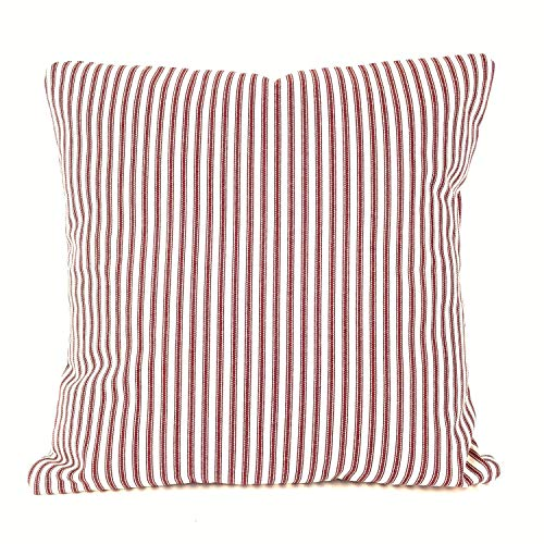 Toll2452 Farmhouse - Funda de cojín con diseño de Rayas, Color Rojo y Blanco