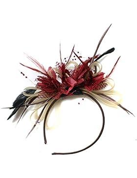 Tocado Dorado y Borgoña, Diadema con plumas