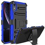 DONWELL Coque de Protection Hybride pour iPhone XR, avec béquille et Clip Ceinture