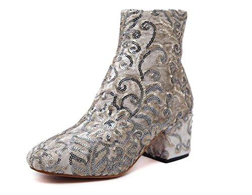 Fiori Sequins Scarpe Ricamo Stivaletto Dimensione Sliver 34 6cm Boots sposa Eu Toe da Martin Chunkly Stivali Stivali 40 Stivaletti Charming Round Partito Donne tacco Dress vw7XwT