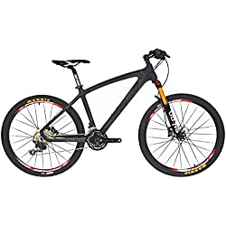 BEIOU® Bicicleta De Montaña Hardtail Shimano M610Deore 30Velocidad Toray T800de fibra de carbono MTB 10,65kg Ultralight Marco RT para ruedas cb024, matte black