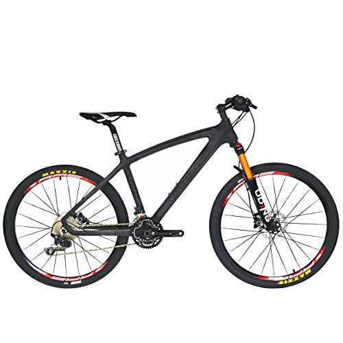 beiou® Non-Vibrato Mountain Bike Shimano-Deore 30 Speed Toray T800 Carbon Faser MTB 10.65 kg Ultralight Rahmen rt 26 Räder CB024 schwarz matte black 19-Inch