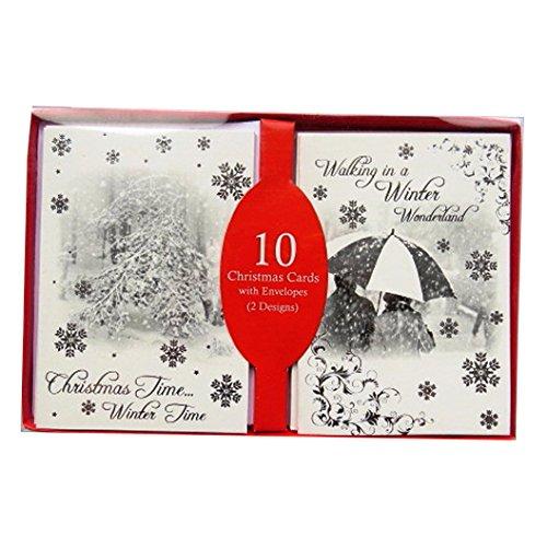 Argento e Nero Cartoline di Natale con le buste - Scena di Inverno - Confezione da 10 - 140mm x 100mm