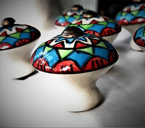 Set von 6Keramik Knöpfe von französischen Möbelbeschläge (FFF)–Küche Kabinett Knöpfe, Schrank, Brust, Möbel, Schublade Griffe–Porzellan Marokkanische Motiv–einfach zu installieren, einfach weg, um Ihr Zuhause - Marokkanische Brust