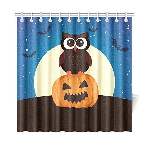 ad Vorhang Halloween Eule Kürbis Auf Nacht Polyester Stoff Wasserdicht Duschvorhang Für Badezimmer, 72X72 Zoll Duschvorhang Haken Enthalten ()