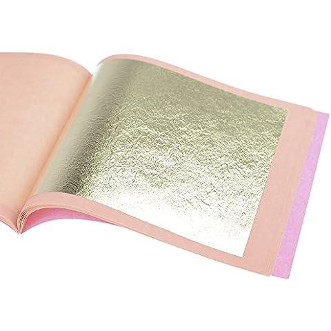 Pan de Oro Auténtico Suelto 21 kt, 85 X 85mm, Librillo de 25 Hojas