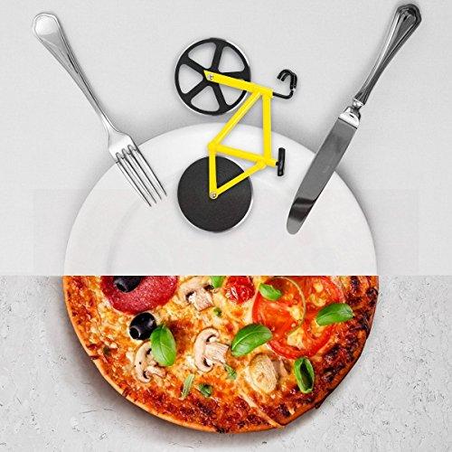 flintronic Cortador de Pizza  Bicicletas Ruedas de Corte Doble de Acero Inoxidable  Cortador de Pizza de la Rueda para Cocina  Boda  Fiesta de Cumpleaños o la Navidad de Regalo (Amarillo)