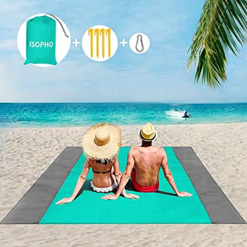 ISOPHO Stranddecke, Strandmatte, extra groß, 210 x 200 cm, wasserdicht, sanddicht, wasserabweisend, Picknickdecke mit 4 festen Nägeln, verstärkter Rand für Strand, Camping, Wandern und Grasausausflüge