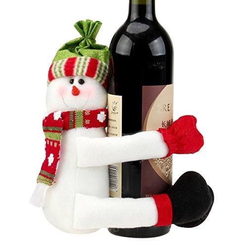 o Weinflachen Deko Puppe für Weihnachten Tisch Deko Party Dekoration in Schneemann Santa Muster (Suche Kostüm Ideen)