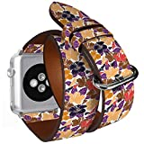 Compatibile con piccoli Apple Watch da 38 mm e 40 mm, doppio rotolo, cinturino in pelle con adattatori in acciaio (sciarpa di seta con fiori di ibisco bianchi).