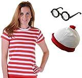 Damen-Kostüm rot-weiß gestreiftes Shirt, Mütze, Brille, Verkleidung für Mädchen Gr. M, T- Shirt+Hat+Glasses