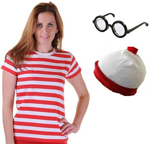Mädchen Damen rot und weiß gestreiftes Shirt Hat Gläser Fancy Kleid Kostüm Gr. xs, Rot - T- Shirt+Hat+Glasses