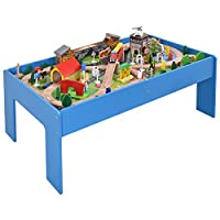 COSTWAY 108 Pieces Wooden Train Set & Table Kids Rail Track Bridge Playset Toy Xmas