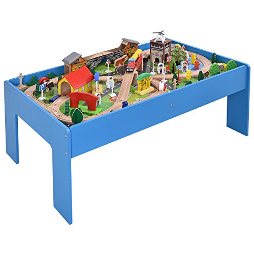 COSTWAY Ensemble Train en Bois et Table Circuit de Train en Bois Table de Jeux 108 pcs Grande Table d'Activité