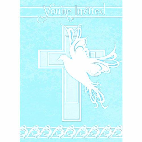 Colombe Croix de baptême invitations Lot de 8 - Bleu