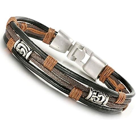 Jstyle pulsera de piel para hombre colour negro y plateado brazalete hecho a mano cuerda para jóvenes longitud: 22 cm