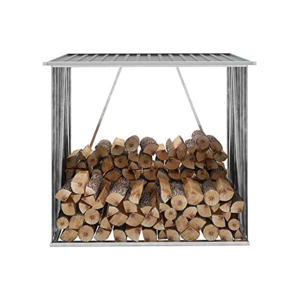 Festnight Casetilla para Leña Acero Galvanizado Diseño Inclinado Gris 163x83x154 cm